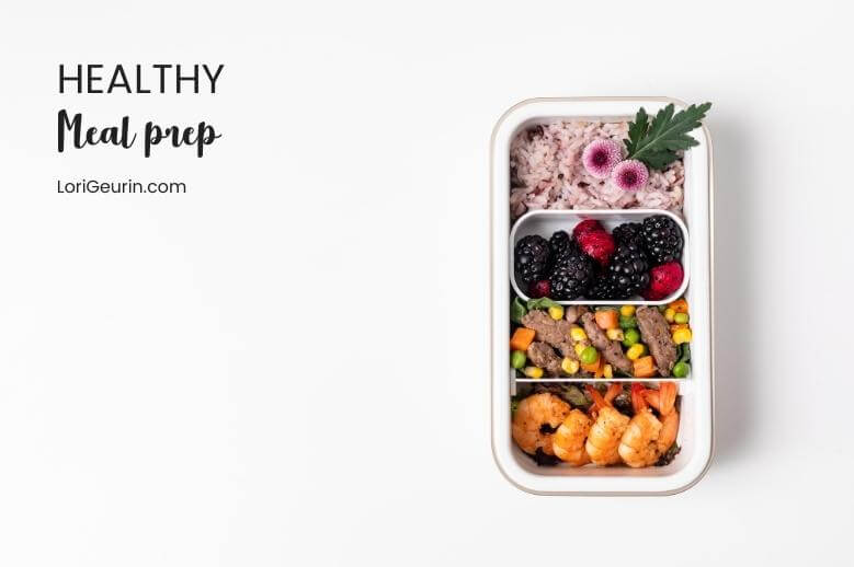 healthy meal prep in container with fruit and nuts