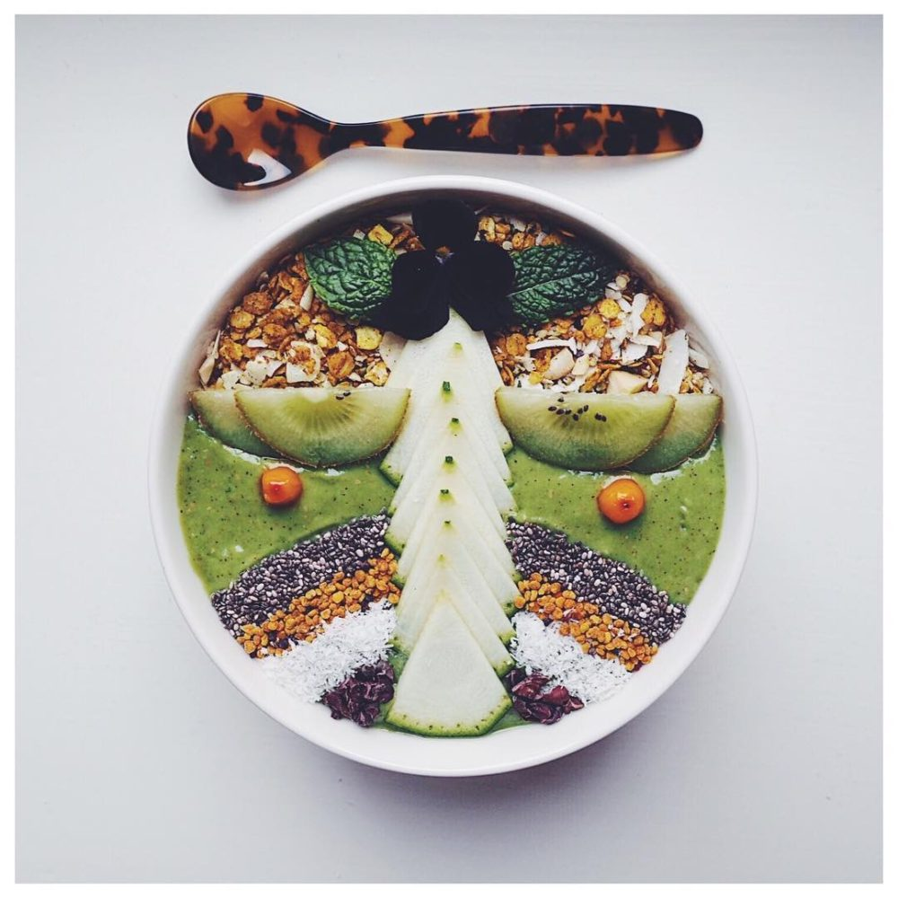 fruit porridge with coconut and nuts