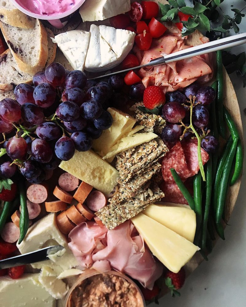 fruit and meat platter with cheese and whole grain crackers