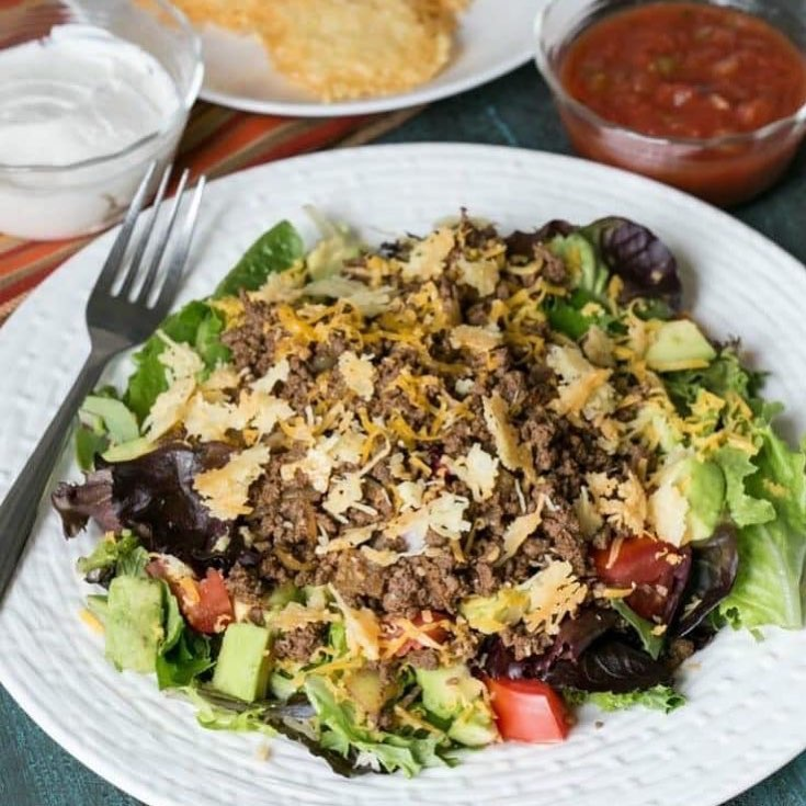healthy salad with meat and vegetables