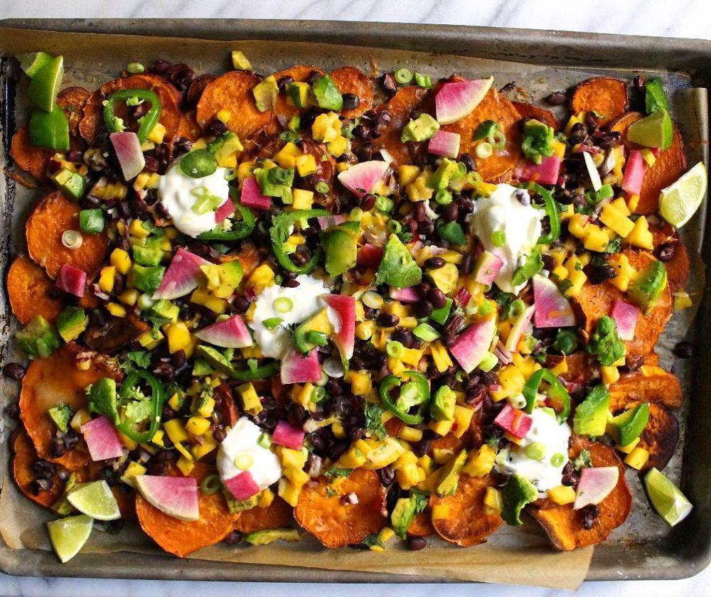 vegan sheet pan meal with vegetables