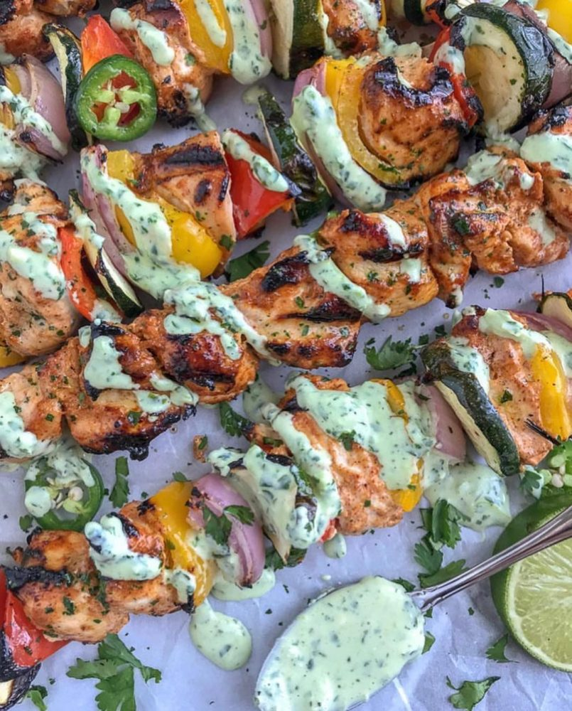 chicken, vegetables, and creamy sauce kabobs