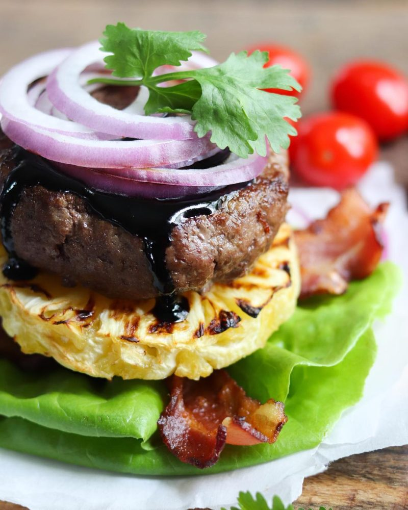 hamburger with vegetables and pineapple