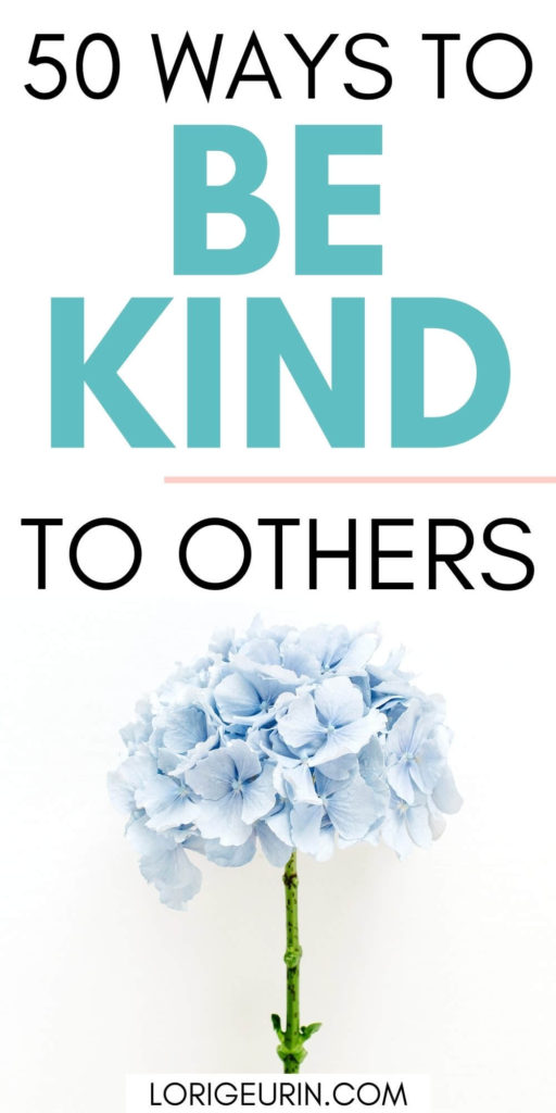 50 simple ways to be kind to others /  a single stemmed blue hibiscus flower on a white background