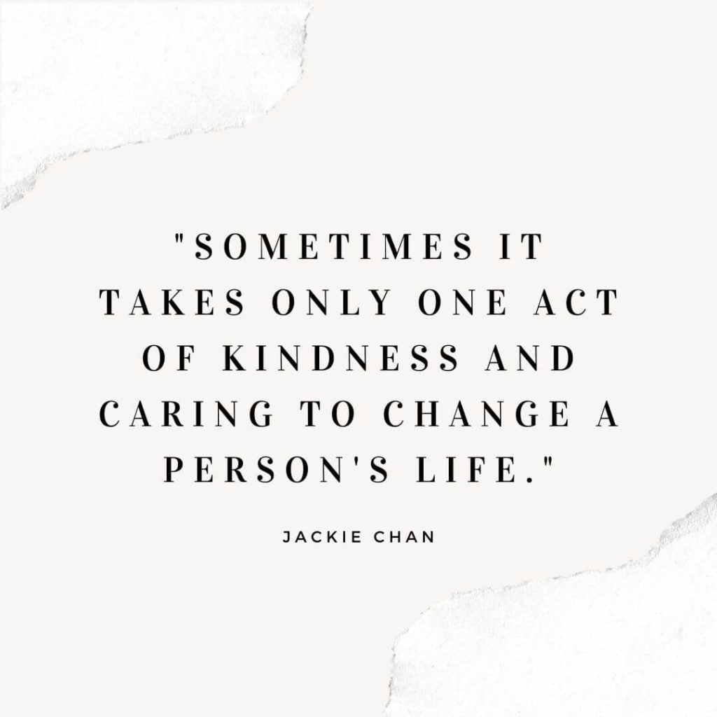 50 simple ways to be kind to others / Jackie Chan kindness quote on a white background