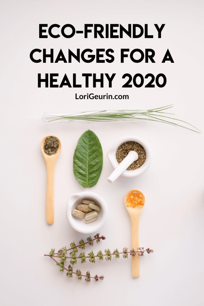 simple eco-friendly changes for better health / herbs, leaves, and supplements on a white table