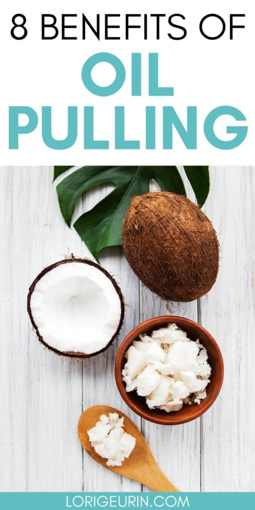 oil pulling benefits / coconut and coconut oil on a table