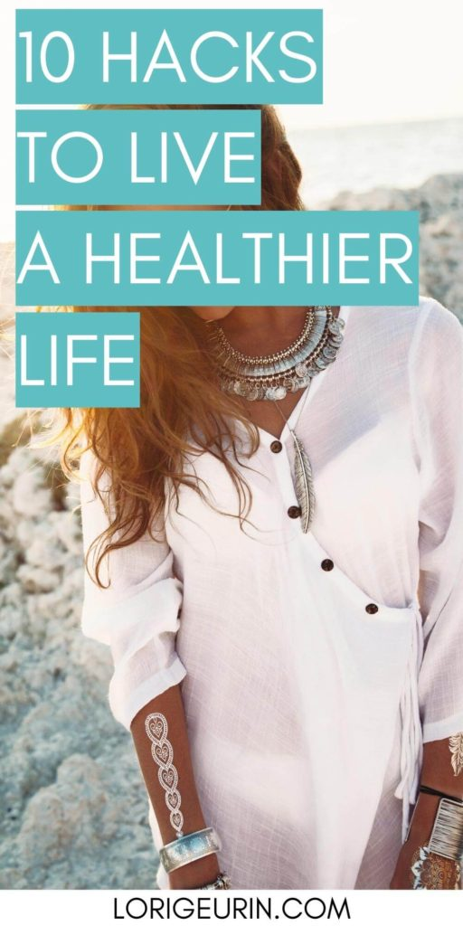 10 health and wellness habits text overlay/ a woman at the beach in a white dress with a silver necklace