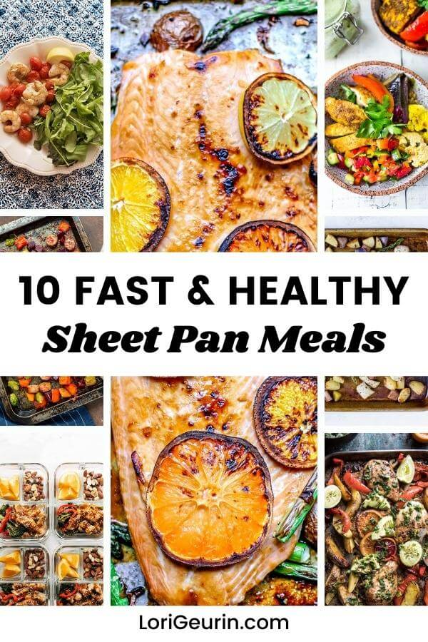 several sheet pan meals with meat, fish, vegetables, herbs and spices