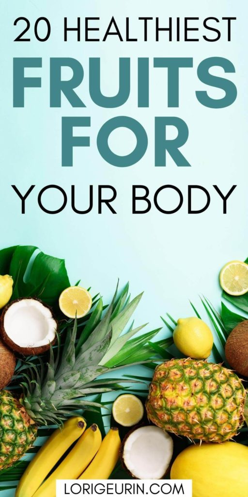 healthy fruits including coconuts, lemons, limes, bananas, and pineapples on a light blue background
