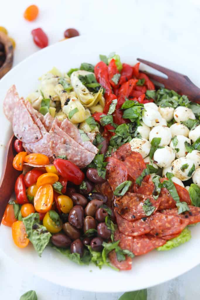 Italian antipasto salad with meat, cheese and vegetables