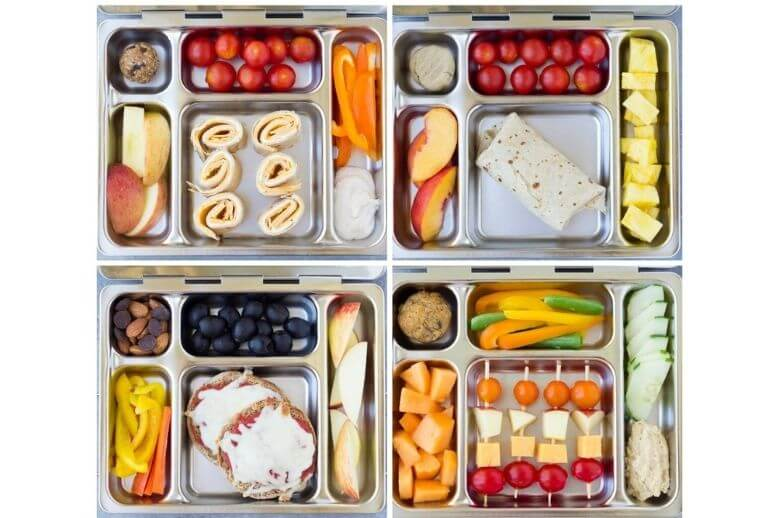 healthy lunch ideas - school lunch with fruits, vegetables, wraps, and pizza