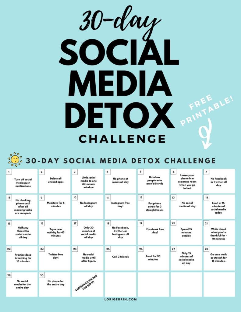 social media detox challenge pdf calendar