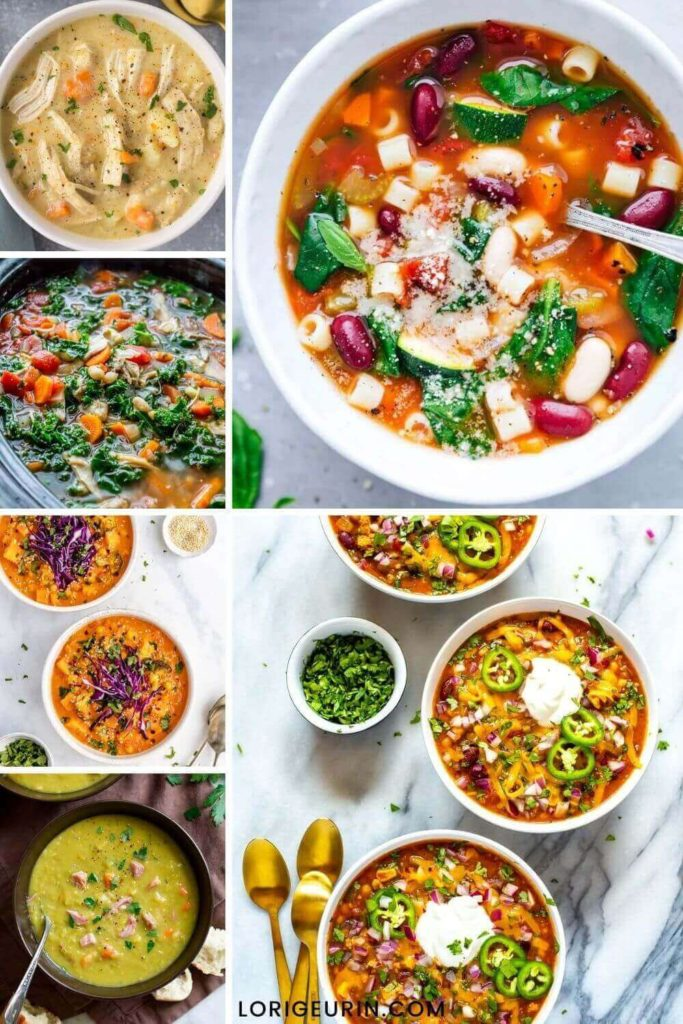 bowls of healthy soup, full of vegetables, beans, meat, herbs, and spices