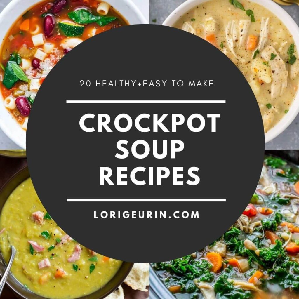 healthy crockpot soup recipes and 4 bowls of healthy soup
