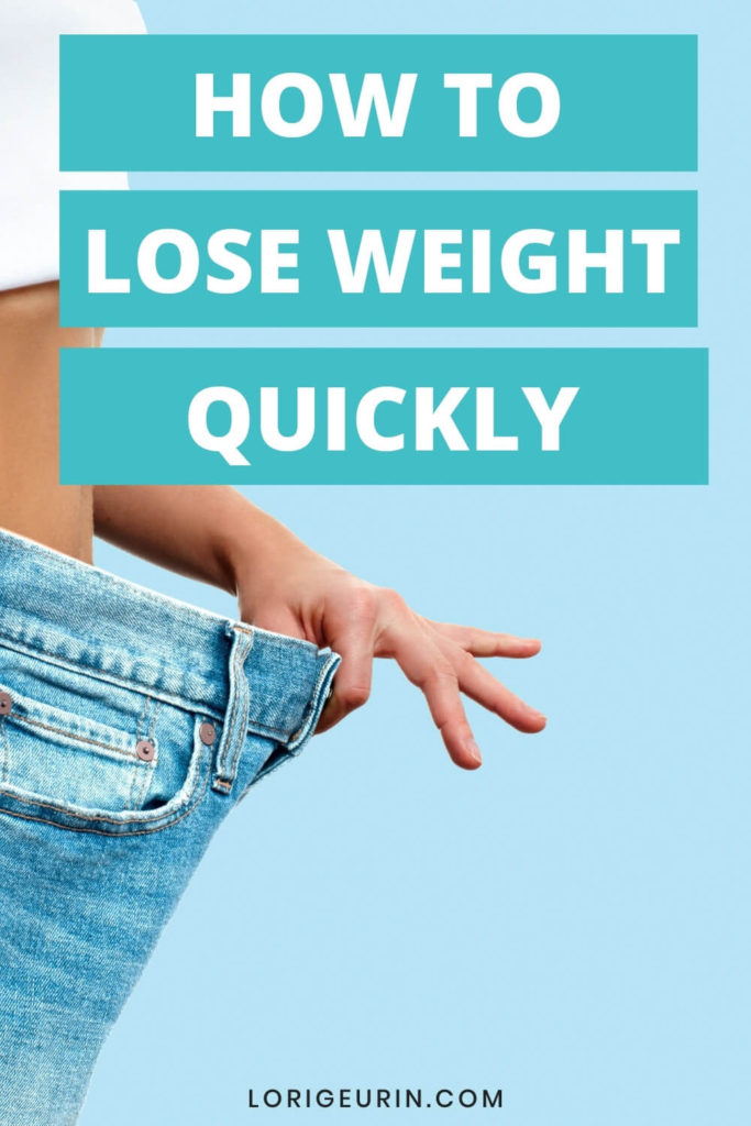 quick easy tips to lose weight fast and lady holding jeans out that are too big due to weight loss