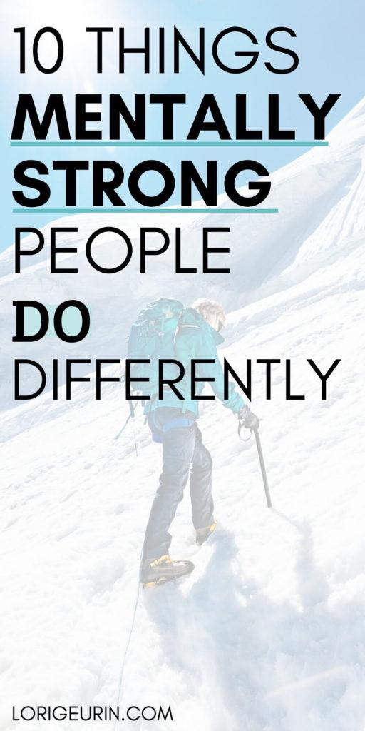 mentally tough people / a woman climbing a mountain in snow