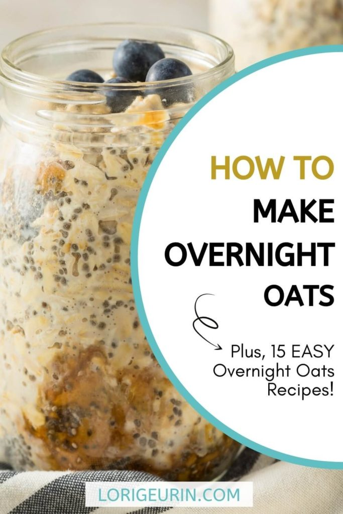 easy overnight oats recipes / jar of overnight oats with chia seeds, peanut butter and oats