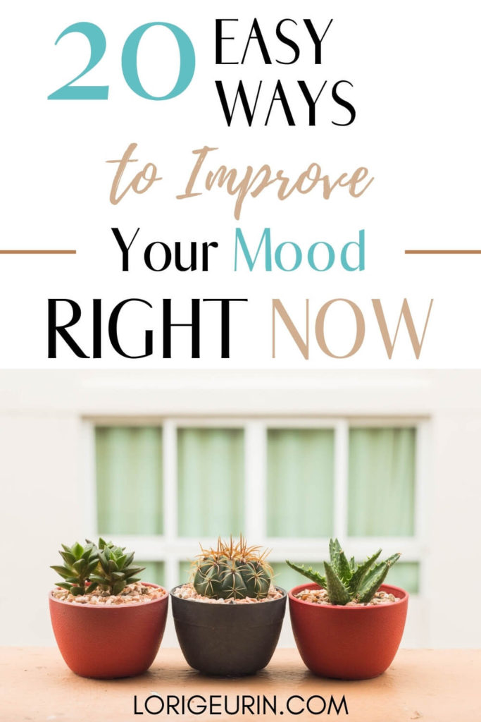 20 natural ways to boost your mood and feel better fast text overlay and 3 potted cactus plants on a window sill