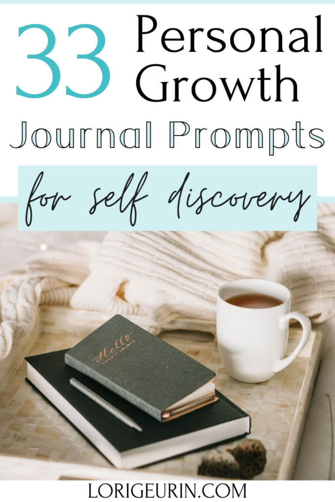33 journal prompts for personal growth text overlay and journals with a white blanket, ink pen, and cup of coffee
