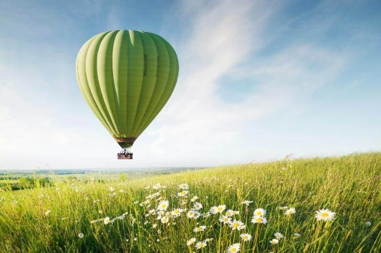 a hot air balloon flying over a field of wildflowers