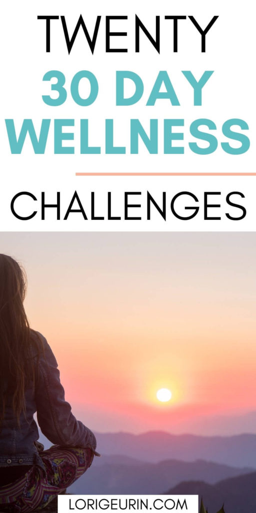 30 day challenges for better health and wellness /  a lady sitting cross-legged at sunset in the mountains
