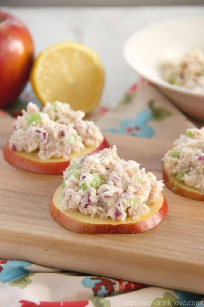high protein snack recipes / apple tuna bites