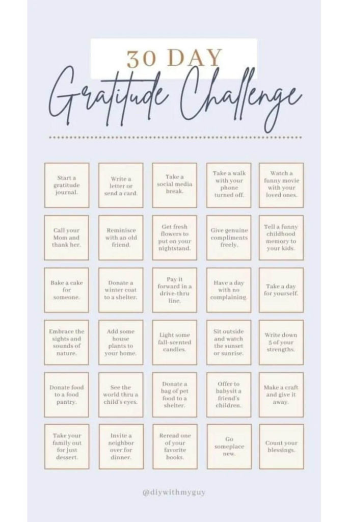 30-day gratitude challenge with text on boxes