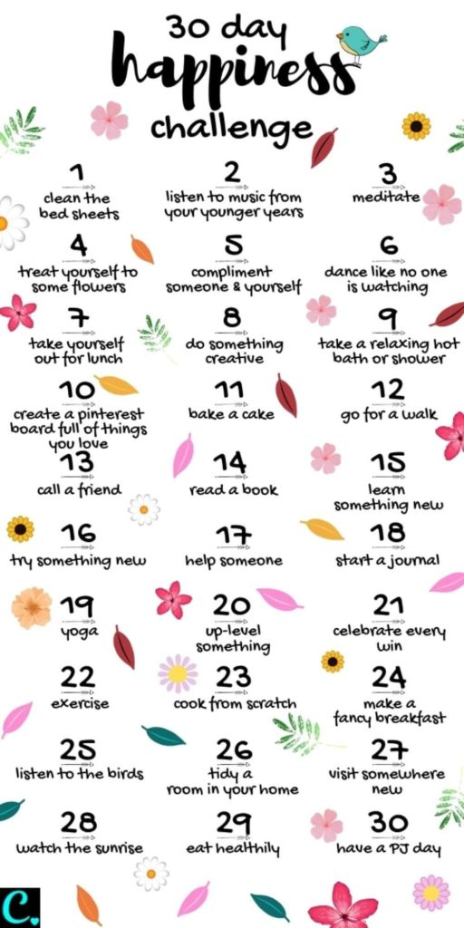 30-day happiness challenge with flowers and leaves