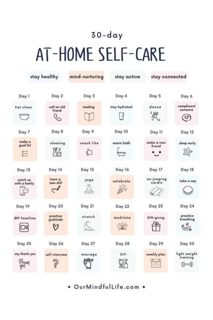 30 day challenge ideas / at home self care challenge with ideas to stay healthy and active