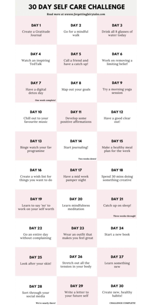 30 day self care challenge on a white and pink background