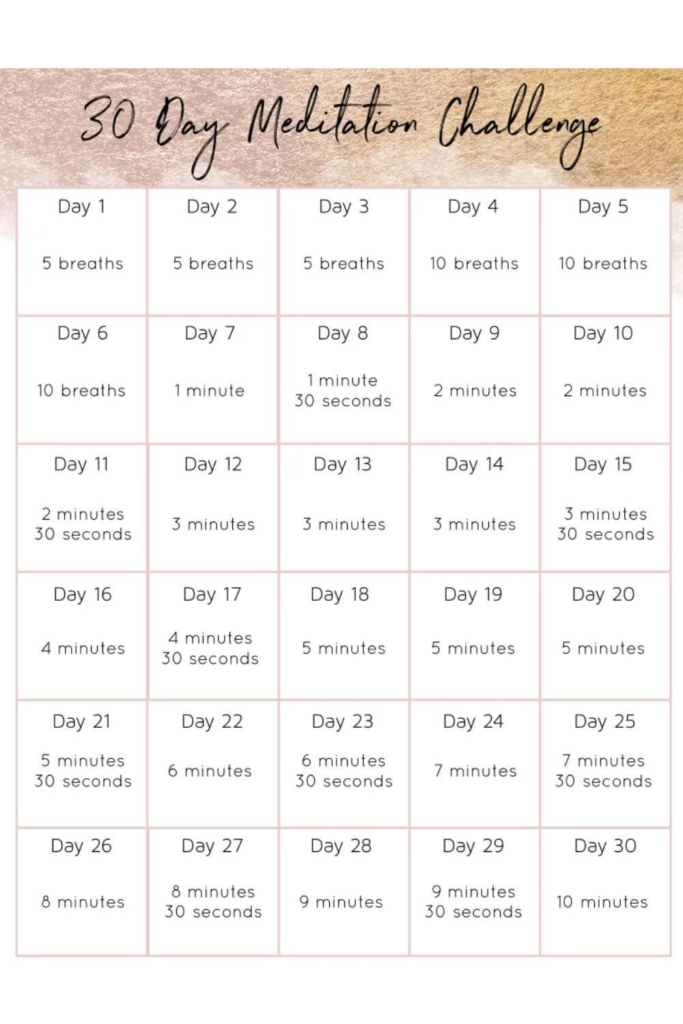 30 day challenge ideas / meditation challenge for deep breathing practice