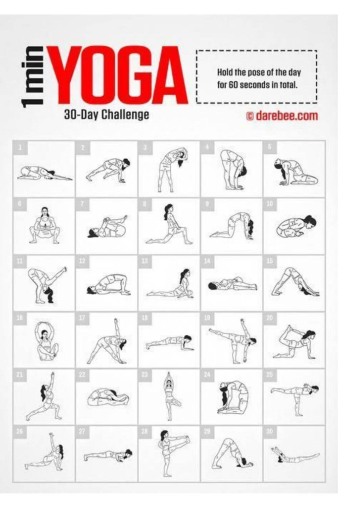 30 day challenge ideas / yoga challenge showing different yoga poses