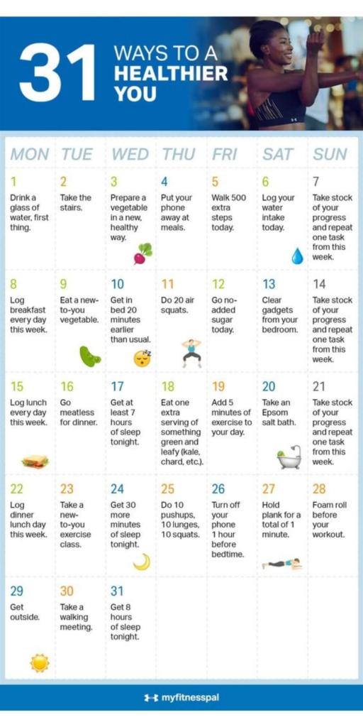 30 day challenge / a healthier you challenge and a woman in fitness gear stretching her arms
