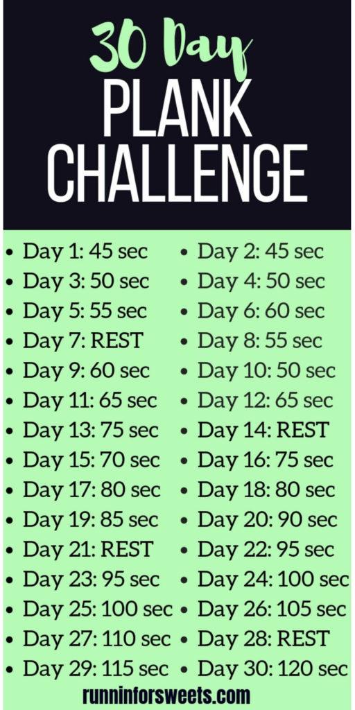 30 day challenge ideas / plank challenge on green background