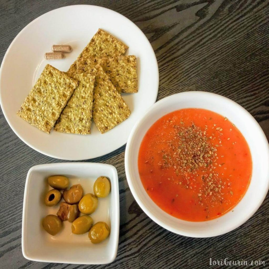 fasting mimicking diet plan /  lunch, day 1, soup, kale crackers, and olives