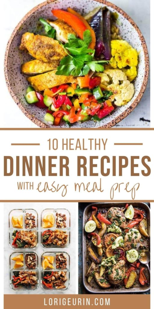 healthy dinner with meat, vegetables, and fresh herbs in a bowl