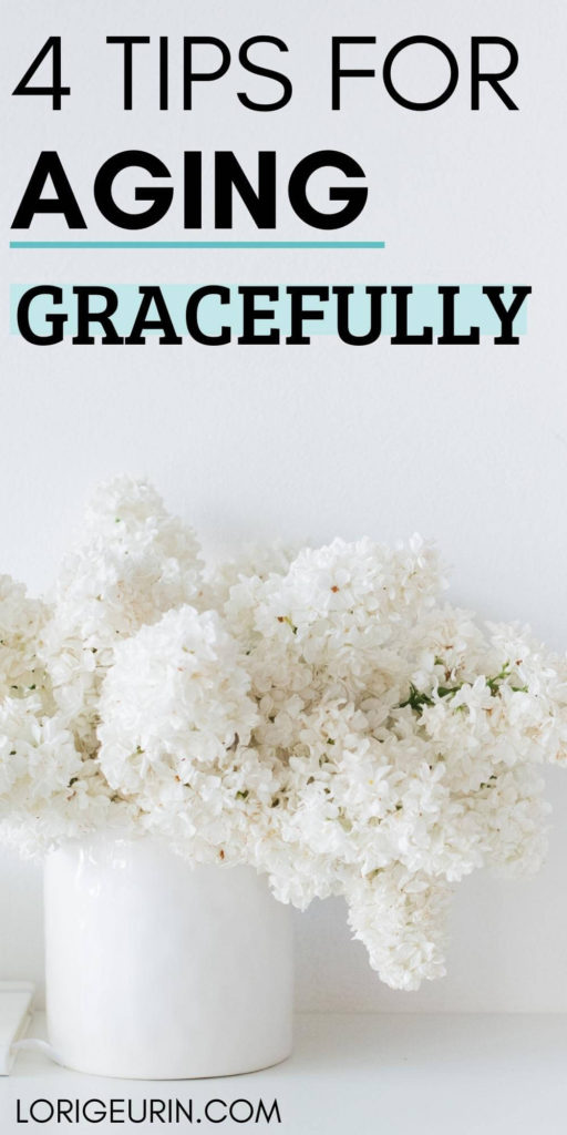 tips for aging gracefully / a bouquet of white flowers in a white vase on white background