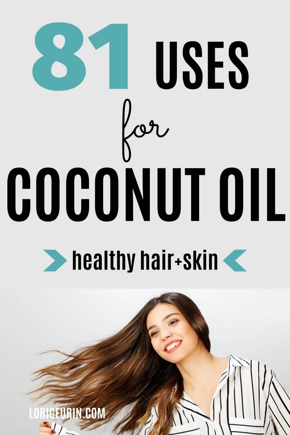 uses for coconut oil / young lady with healthy hair