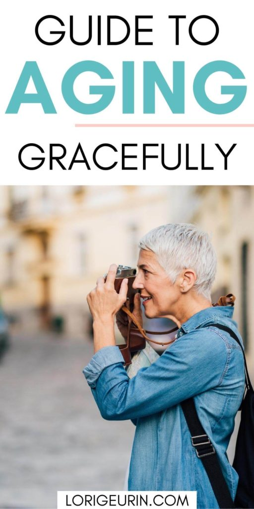 aging with grace / an older woman taking pictures in a city