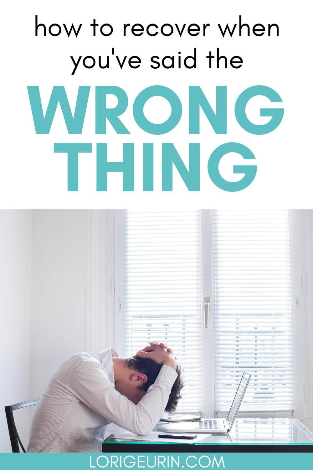 embarrassed man with his head in hands at his computer / what to do when you say something you regret