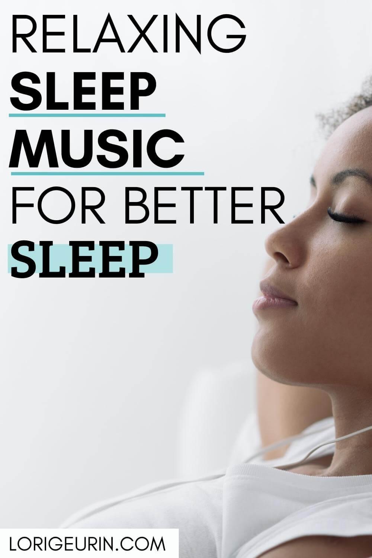 woman listening to sleep music to fall asleep