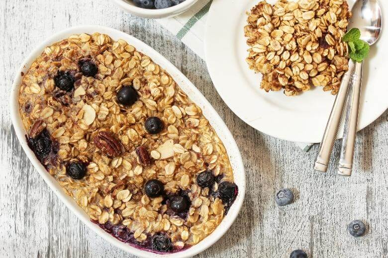 blueberry oat bake in a white dish