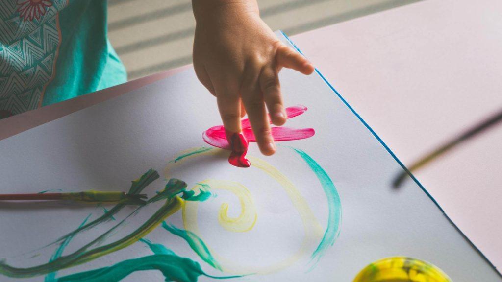preschooler fingerpainting