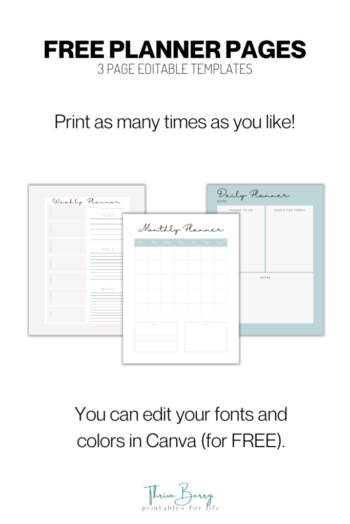 free planner pages template