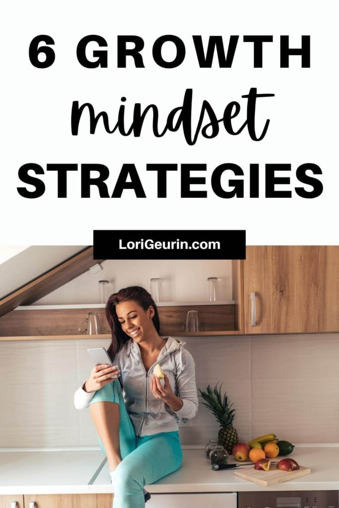 growth mindset tips / woman eating an apple